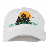 Halloween Ghost Hunting Embroidered Pet Spun Cap - White