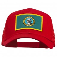 Washington State Flag Patched Mesh Cap - Red