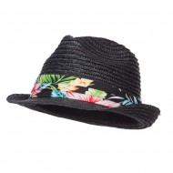 Wheat Braid Floral Band Straw Fedora - Black