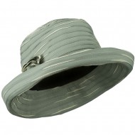 Women's Hat with Offset Spiral Sewn Ribbon - Green Cream