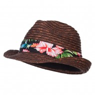 Wheat Braid Floral Band Straw Fedora - Brown