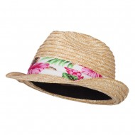 Wheat Braid Floral Band Straw Fedora - Natural