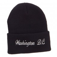 Washington DC Embroidered Long Beanie - Black