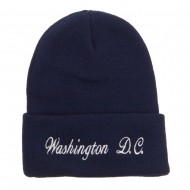 Washington DC Embroidered Long Beanie - Navy