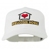 Welcome Home Embroidered Cotton Twill Cap - White