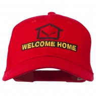 Welcome Home Embroidered Cotton Twill Cap - Red