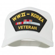 WWII Korean Veteran Patched Cotton Twill Cap - White