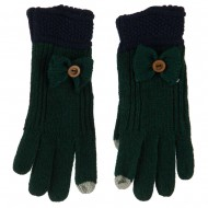 Women's Acrylic Knit Texting Bow Glove - Green