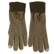 Women's Acrylic Knit Texting Bow Glove - Taupe