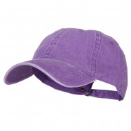 Washed Solid Pigment Dyed Cotton Twill Brass Buckle Cap - Purple