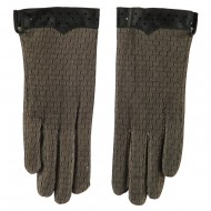 Women's Lace Lined Texting Glove - Natural Black