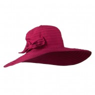 Woman's Large Bow Wired Brim Hat - Fuchsia