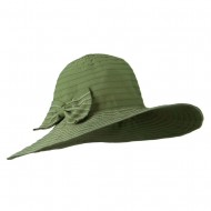 Woman's Large Bow Wired Brim Hat - Sage