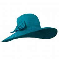 Woman's Large Bow Wired Brim Hat - Turquoise