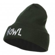 Halloween Howl Embroidered Long Beanie - Olive