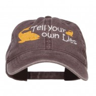 Tell Your Own Lies Embroidered Washed Cap - Brown