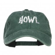 Howl Embroidered Washed Cap - Dk Green