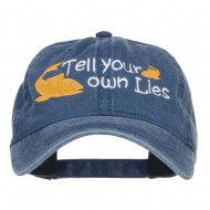 Tell Your Own Lies Embroidered Washed Cap - Navy