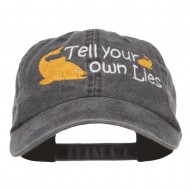 Tell Your Own Lies Embroidered Washed Cap - Black