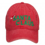 Christmas Hat Santa Claus Embroidered Washed Cap - Red