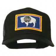 Wyoming State Flag Patched Mesh Cap - Black