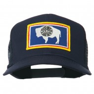 Wyoming State Flag Patched Mesh Cap - Navy