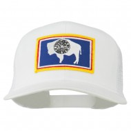 Wyoming State Flag Patched Mesh Cap - White