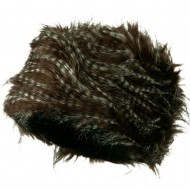 Woman's Faux Fur Bucket Hat - Feathered Brown