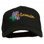 USA State Wisconsin Wood Violet Embroidered Low Profile Cap - Black