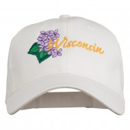 USA State Wisconsin Wood Violet Embroidered Low Profile Cap - White