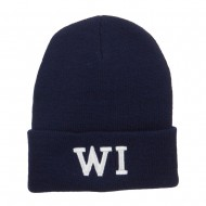 WI Wisconsin State Embroidered Cuff Beanie - Navy