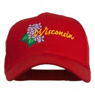 USA State Wisconsin Wood Violet Embroidered Low Profile Cap - Red