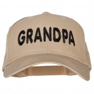 Wording of Grandpa Embroidered Solid Cotton Pro Style Cap - Khaki
