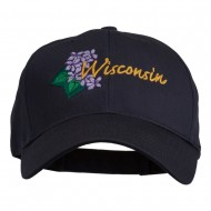 USA State Wisconsin Wood Violet Embroidered Low Profile Cap - Navy