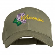 USA State Wisconsin Wood Violet Embroidered Low Profile Cap - Olive