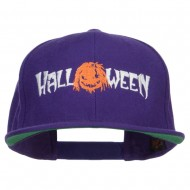Halloween Monster Embroidered Snapback Cap - Purple