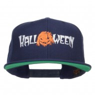 Halloween Monster Embroidered Snapback Cap - Navy