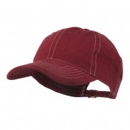 6 Panel Cotton Washed Cap - Wine