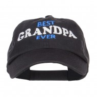 Best Grandpa Ever Embroidered Low Cap - Black