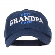 Best Grandpa Ever Embroidered Low Cap - Navy