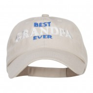Best Grandpa Ever Embroidered Low Cap - Stone