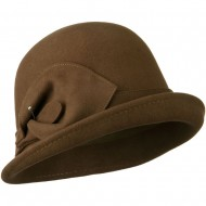 Cloche Wool Felt Lily Accent with Rhinestone Stem Hat - Pecan