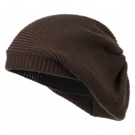 Women's Ribbed Knit Beret - Brown