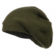 Women's Ribbed Knit Beret - Olive