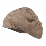 Women's Ribbed Knit Beret - Taupe