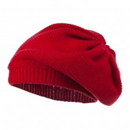 Women's Ribbed Knit Beret - Red