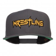 Wrestling Embroidered Snapback Cap - Silver