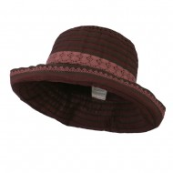 Woman's Stripe Design Crushable Hat with Lace Accent - Wine