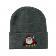 Santa with Christmas Lights Embroidered Beanie - Grey