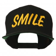 Wording of Smile Embroidered Flat Bill Cap - Black